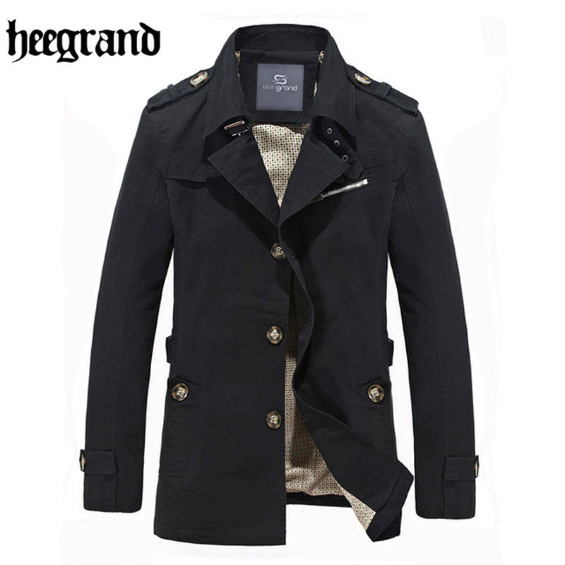 HEE GRAND 2018 High Quality Trench Men Double Breasted Trench Man Outerwear Fashion Casual Coat Male Jackets M~5XL  MWF284