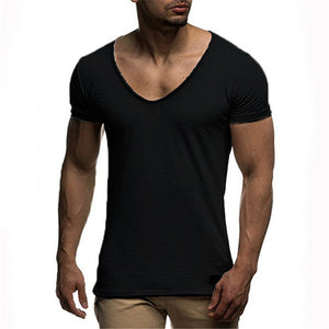 Comfortable Modal Men's T Shirts Sexy V Neck Slim Fit Short Sleeve Casual Male Muscle tshirts Bodybuilding Tops Summer Clothing