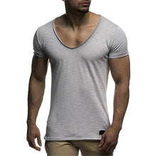 Load image into Gallery viewer, Comfortable Modal Men's T Shirts Sexy V Neck Slim Fit Short Sleeve Casual Male Muscle tshirts Bodybuilding Tops Summer Clothing