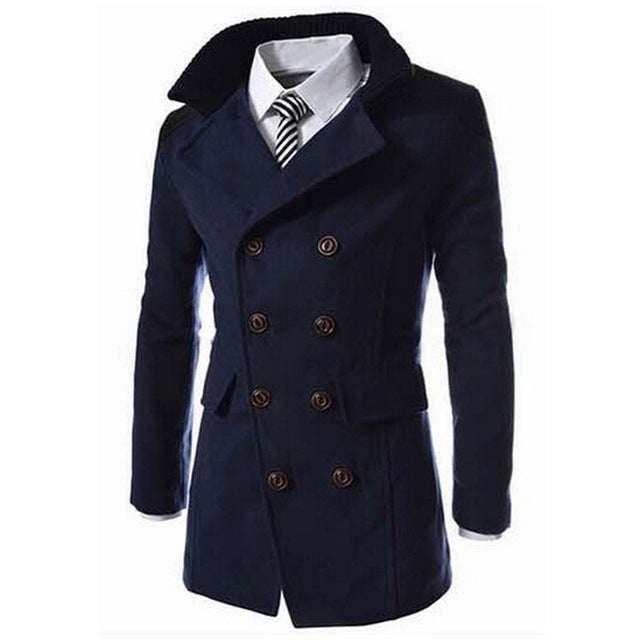 HEE GRAND Fashion Male Autumn Winter Coat Turn-down Collar Wool Blend Men Overcoat MWN113