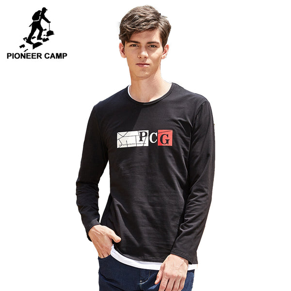 Pioneer camp spring autumn long sleeve T shirt mens brand clothing casual printed male Tshirt quality T-shirt ACT703131
