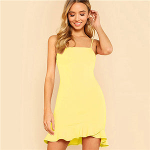 SHEIN Yellow Party Sexy Ruffle Hem Solid Asymmetrical Drop Waist Cami Sheath Dress Summer Women Going Out Dresses
