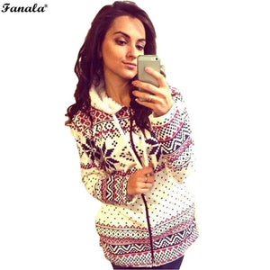 Sleeve Casual Thicken Hoodie Coat Print Long Women Hooded Zipper Slim Sweatshirt