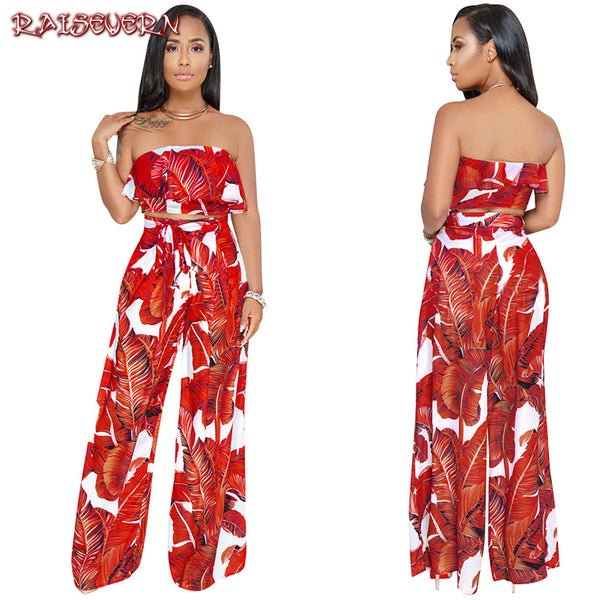 RAISEVERN Sexy Off Shoulder Ruffle Romper Women Jumpsuit Bohemian Floral Print Wide Leg Long Romper Summer Overalls 2018
