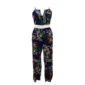 RAISEVERN Summer Bohemian Floral Jumpsuits Women's Sexy Strapless Backless Lace Up Casual Jumpsuit Ladies Elegant Romper Beach