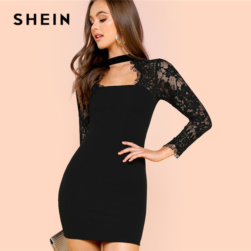 SHEIN Black Lace Insert Solid Form Fitting Dress Party Sexy Sweetheart Neckline Short Pencil Dresses Women Bodycon Autumn Dress