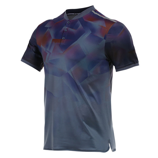 Vansydical Stand Collar Sports T-shirt Men's Tennis Training Tees Breathable Fitness Workout Golf Tops