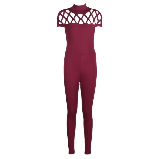 Women Choker High Neck Caged Sleeve Playsuit Ladies Jumpsuit
