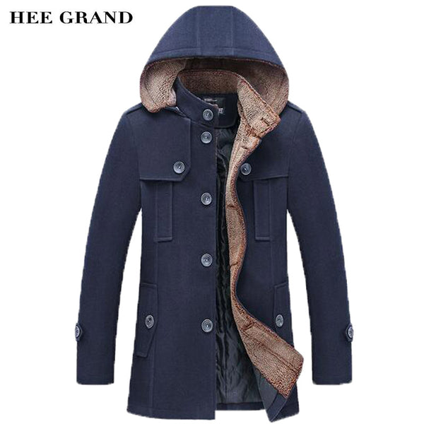 HEE GRAND Men Fashion Style Thick Warm Woolen Overcoat Stand Collar Single Breasted With Detachable Hat Winter Blends MWN251