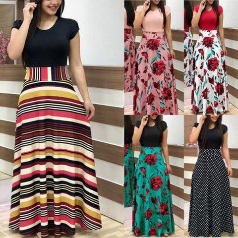 One-Piece Fashion Women Floral Maxi Dress Casual Vintage Elegant Long Dresses