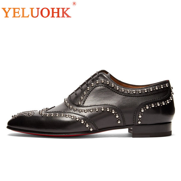 Rivet Genuine Leather Shoes Men Top Quality Men Leather Shoes Black Men Dress Shoes Lace Up Office Formal