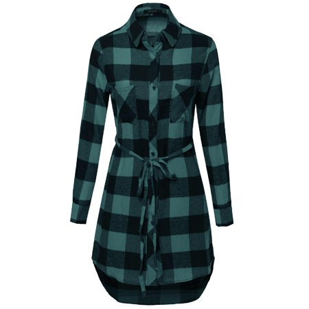 FashionOutfit Women's Super Cute Flannel Plaid Checker Shirts Dress with Belt