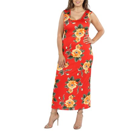 24Seven Comfort Apparel Kathy Red Floral Plus Size Maxi Dress