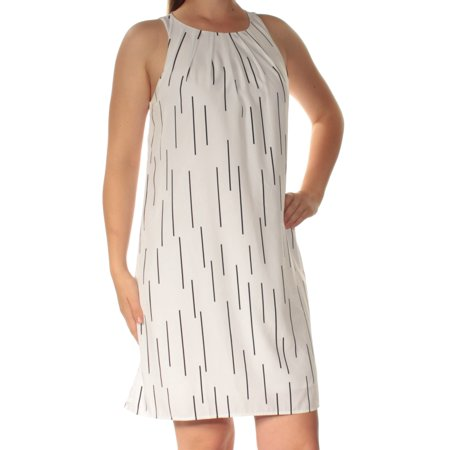 ALFANI Womens White Striped Sleeveless Jewel Neck Mini Shift Dress  Size: 8