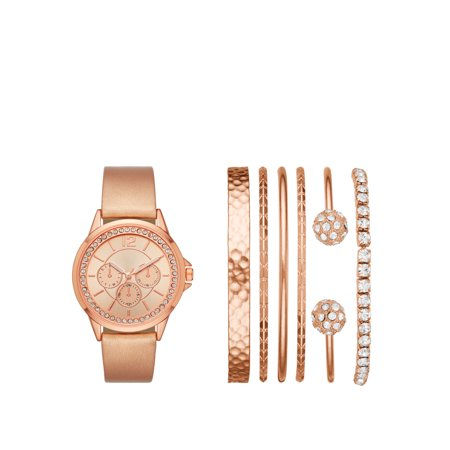 Ladies' Rose Gold Watch and Stackable Bracelet Gift Set