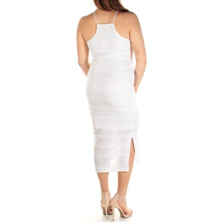 BAR III Womens White Spaghetti Strap Jewel Neck Midi Body Con Dress  Size: M