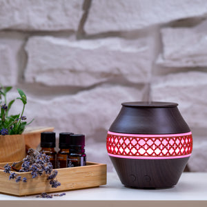 Small Dark Wood Decorated Vase Diffuser