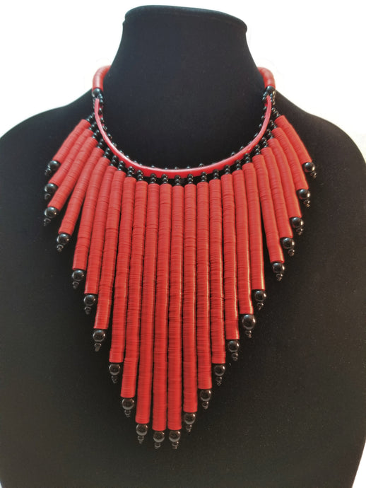 Red Vinyl Heishi Bead Necklace