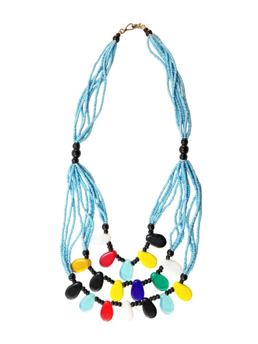 African Beaded Necklace - Sky Blue