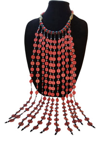 Long Vinyl Heishi Bead Necklace - Red