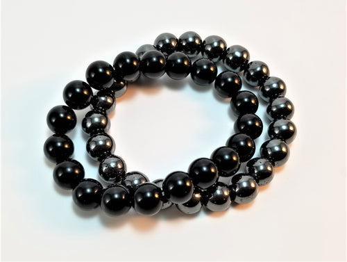 Black Onyx and Hematite Bracelet Pair