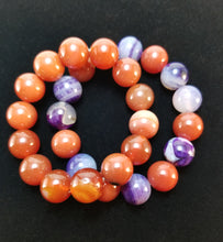 Red and Purple Agate Bracelets - Pair
