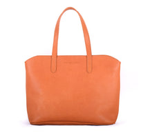 Handmade Leather Tote Bag - Tangerine
