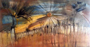 Meditation 24x44, original painting, African art from Burkina Faso by Boubakary Konseimbo