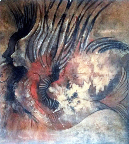 Mermaids 57x52,original painting, African art from Burkina Faso by Boubakary Konseimbo