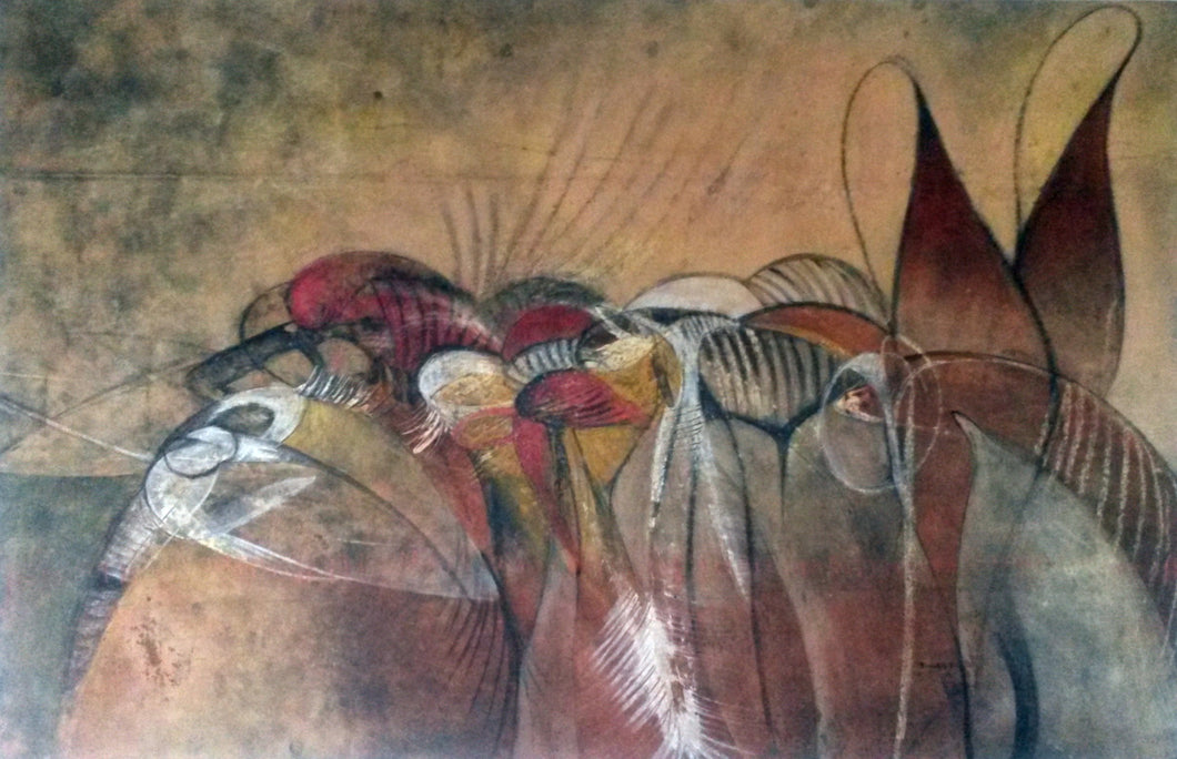 Untitled Artwork 37x57, original painting, African art from Burkina Faso by Boubakary Konseimbo