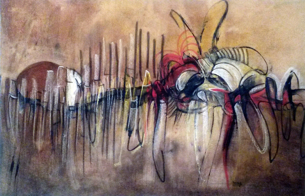 No Silence 27x41, original painting, African art from Burkina Faso by Boubakary Konseimbo