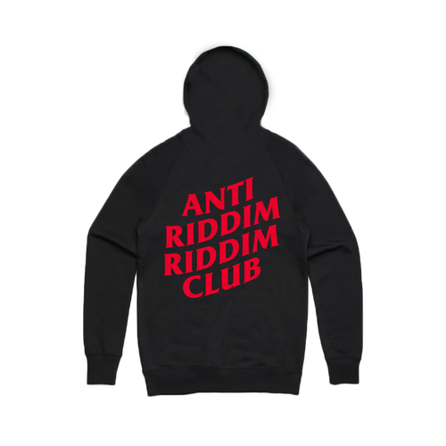 ANTI RIDDIM CLUB HOODIE (BLACK/RED)