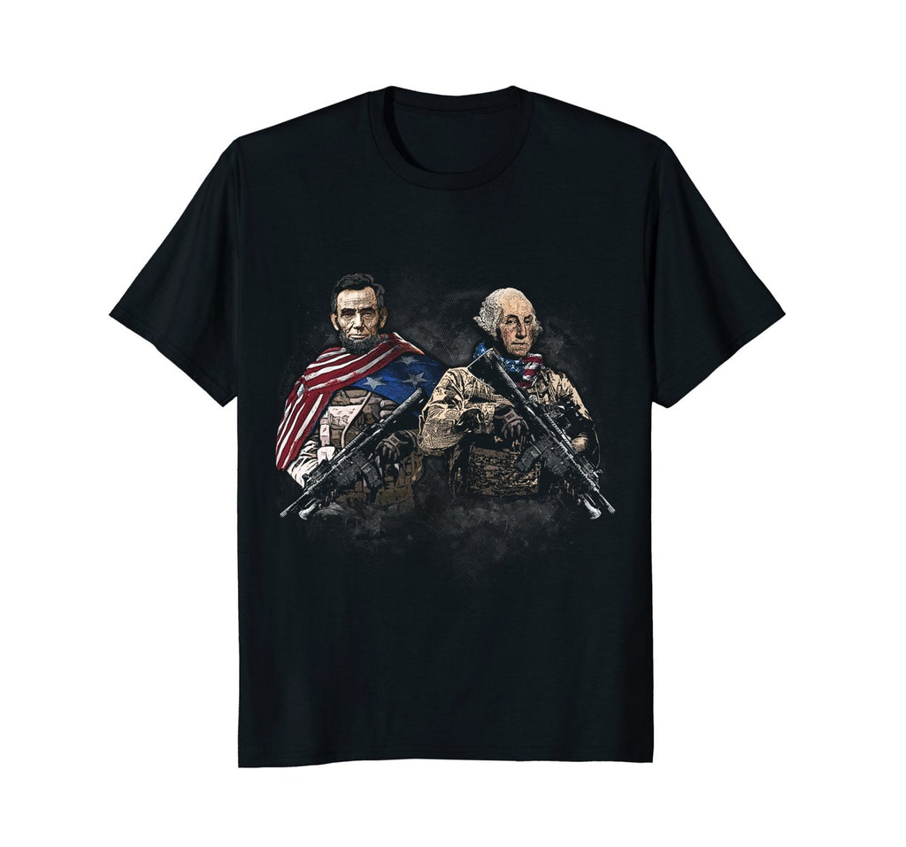2018 Fashion Summer Style Presidential Soldiers: Abraham Lincoln and George Washington Tee shirt - Hyper420