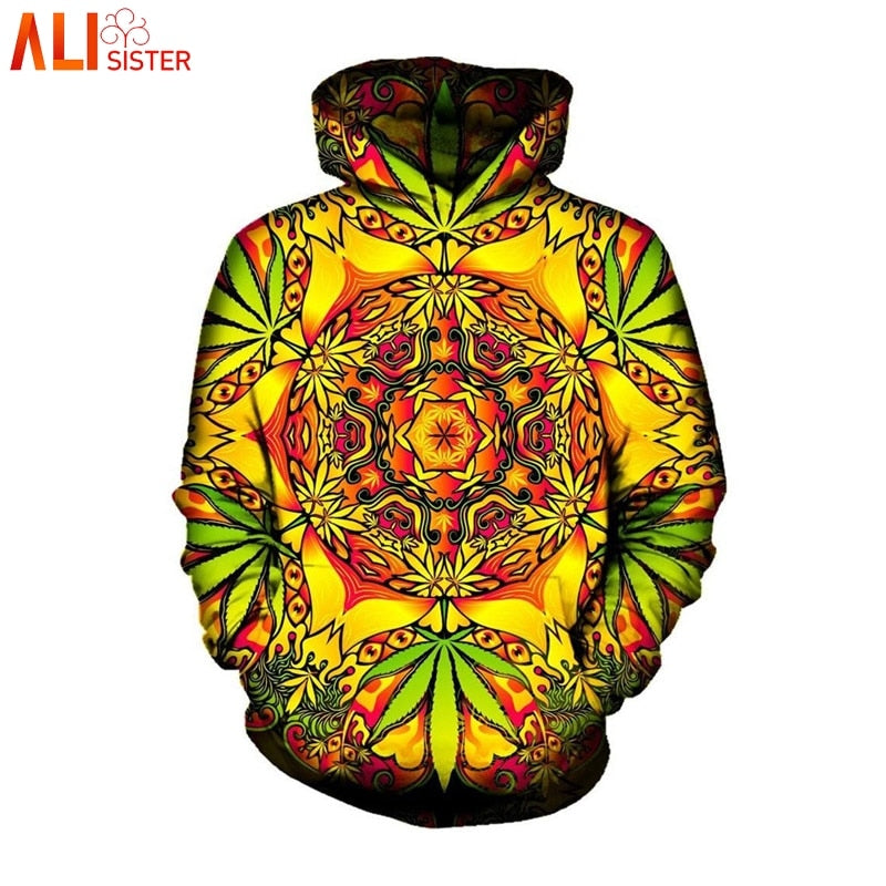 Alisister Psychedelic Weed Hoodies Sweatshirt Men Women Autumn Winter Hooded With Cap Sudaderas Hombre Brand Tracksuit Dropship - Hyper420