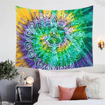 BlessLiving Lotus Flower Tie Dye Tapestry Wall Hanging Wall Art Collage Dorm Decoration Mandala Bohemian Floral Tapestries Sheet - Hyper420