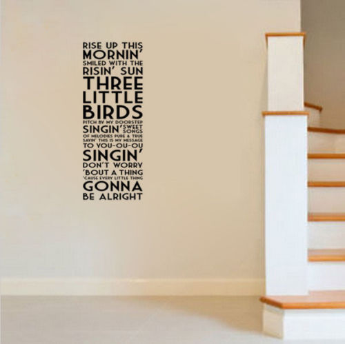 G269 Bob Marley Three Little Birds Song Lyrics Quote Vinyl Wall Decal Decor Sticker Decorative art of living room wall stickers - Hyper420