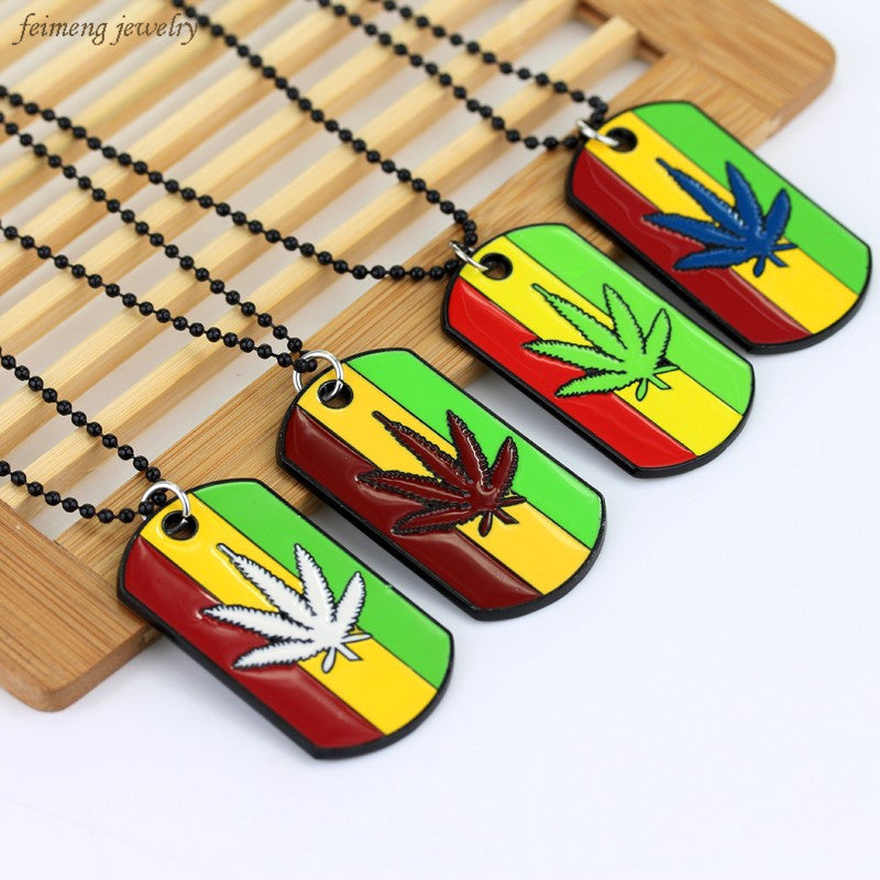 5 Color Weed Reggae Pendants with Metal Alloy Necklaces - Hyper420