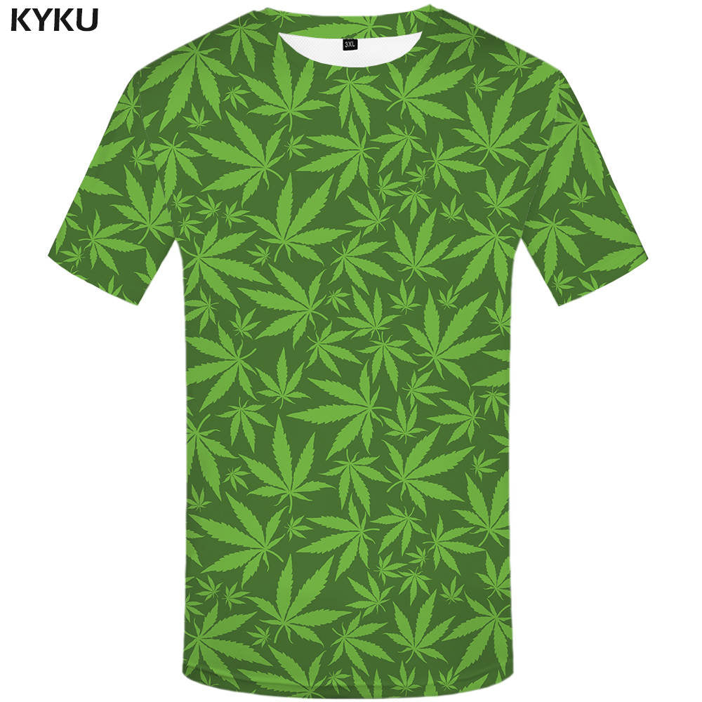 KYKU Weeds T shirt Clover Clothes Green Leaves Tops  Tshirt  Shirts  Tees Men 3d T shirt Sexy Male Top Summer - Hyper420