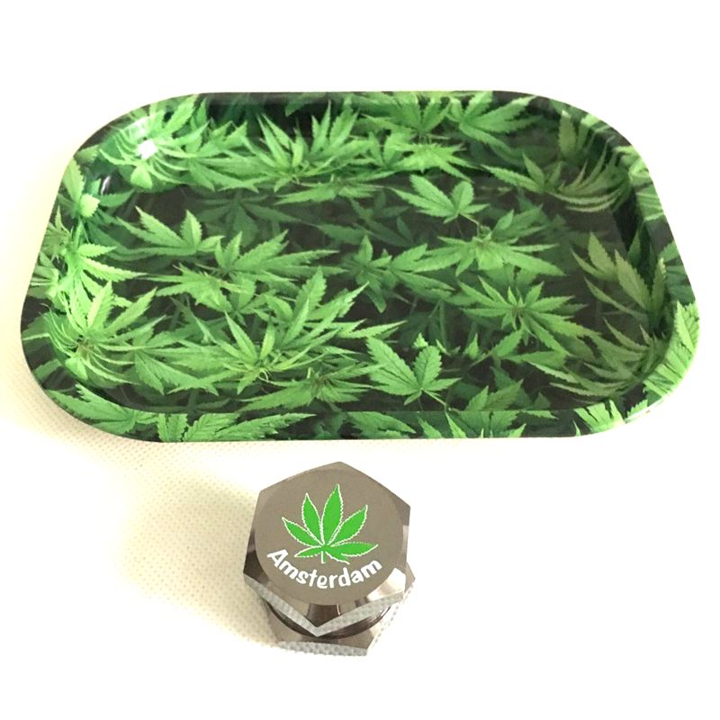 Mini 18cm Rolling Tray Tobacco Storage Plate  Discs with New High Grade Mini Metal Herb Grinder Weed 3 Layers Zinc Alloy - Hyper420