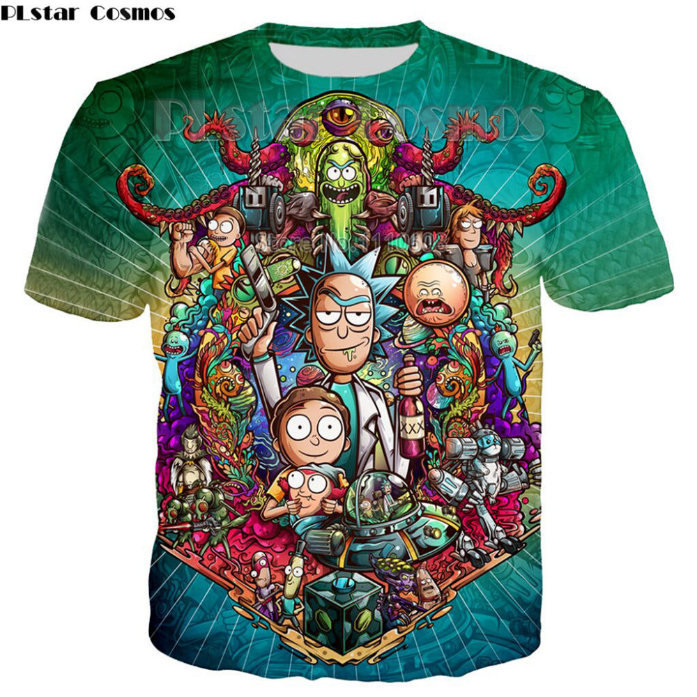 Newest Cool Rick Morty men women  t shirt  Summer Anime T-shirts rick and morty worlds folk colorful Fitness Cartoon tee shirt - Hyper420