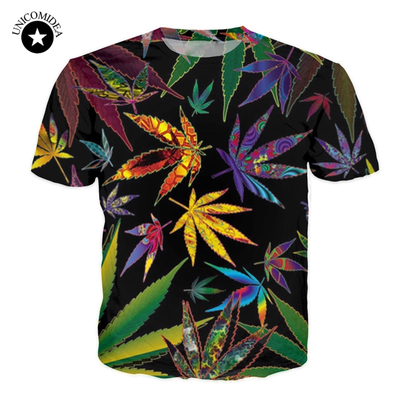 Unisex 3D Weed Leaf T Shirt Green Leaf Funny T-shirt Summer Hip Hop Casual Top Tees Fashion Tee Shirts Street Clothing Plus Size