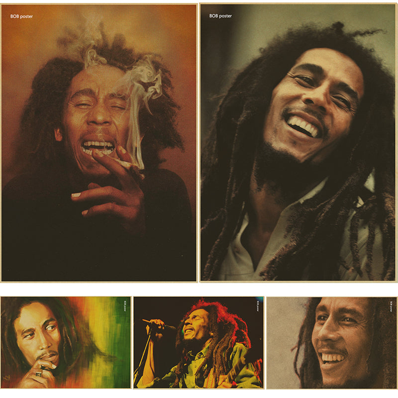 bar cafe decoration and combine shipping Vintage Style Retro Paper Poster Reggae music Bob Marley - Hyper420