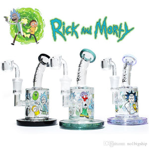 Rick & Morty glass water pipe female 14.5mm  with quartz banger - Hyper420