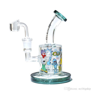 Rick & Morty glass water pipe female 14.5mm  with quartz banger