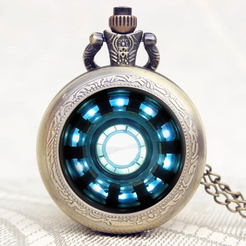 Fashion Iron Man Movies Extension Tony Stark Iron Man Arc Reactor Jarvis Design Pocket Watch With Necklace Chain