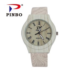 PINBO Simulation Wooden Reloje Quartz Men Watches Casual Wooden Color Leather Strap Watch Wood Male Wristwatch Relogio Masculino