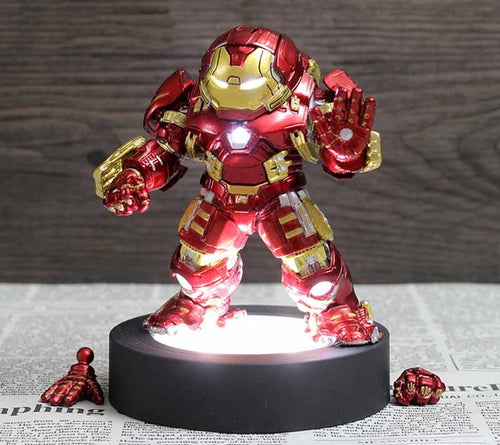 Q Version The Avengers Iron Man Hulkbuster Mark 44 MK 44 Hulk Buster Action Figure Toys With LED Light Car Decoration