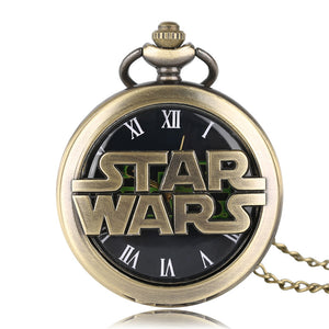 Half Hunter Quartz Pocket Watch STAR WARS Desgin Fob Hour Unisex Child Boy Girl Vintage Pendant + Necklace Chain Gift 2017