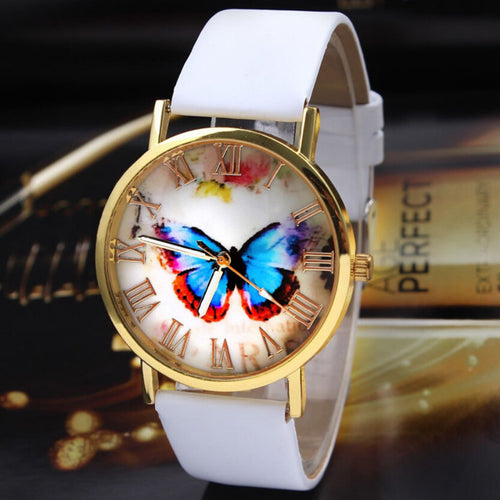 2018 Luxury Brand Women Dress Watch Fashion Butterfly Style Leather Band Analog Quartz Alloy Wristwatch Watches Relogio Feminino