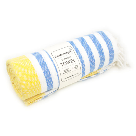CottonAge Avalon Series Turkish Towel, 375g, Yellow - Light Blue